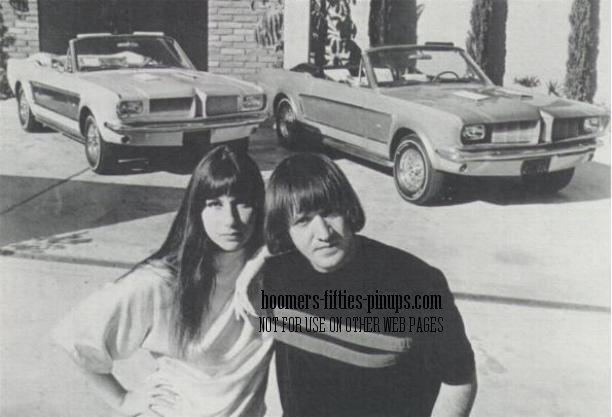 Picture of Sonny and Cher with matching cars