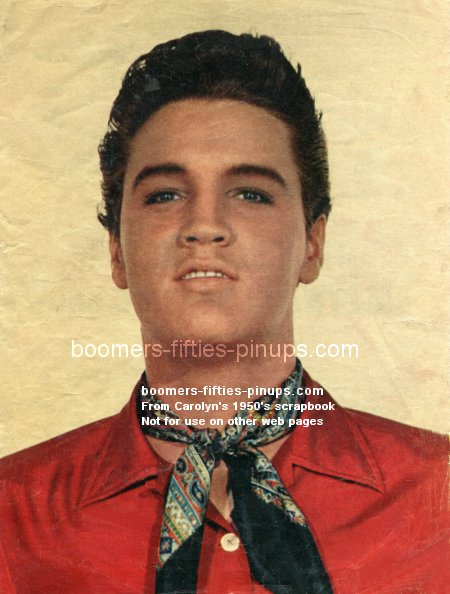 © boomers pinups work product - elvis presley picture with 1950's fashion scarf