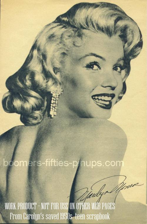© boomers pinups work product - marilyn monroe autograph pic