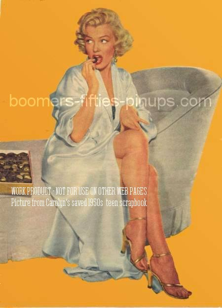 © boomers pinups work product - marilyn monroe with box of chocolates photo