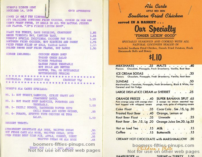 burge's drive in menu, the 1950s