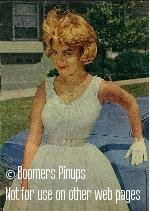 © boomers pinups work product - sandra dee posing with car