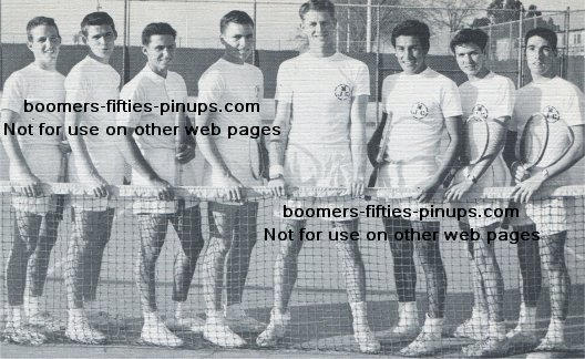 1955 gym fashions, tennis team: george, john, jerry, mike, don, alex, dale, ray
